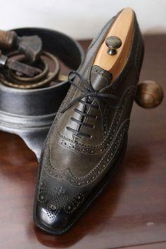 Bespoke Dark Green Grain Leather Full Brogue Oxford   ~ Calzature Su Misura