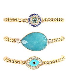 Look what I found on #zulily! Gold & Teal Eye Stretch Bracelet Set by Eye Candy LA #zulilyfinds