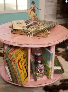 Re imagine a small old cable spool as a reading table in a child's room. Add dividers to serve as book nooks. Paint and distress.