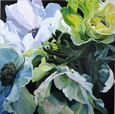 $3,200 102 x 102 cm. Deep Edge Canvas (3.5cm) Acrylics on canvas with oil glaze.A graceful study of anenomes. Also known as Windflowers, you can i