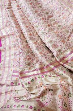 Pastel Handloom Banarasi Katan Silk Meenakari Saree  #banarasisilksaree# Silk Saree Banarasi, Banaras Sarees, Pure Silk Sarees, Silk Saree Blouse Designs, Fancy Blouse Designs, Wedding Sari, Indian Wedding Outfits, Ethnic Trends, Saree Photoshoot