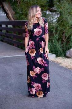 Bold Floral Print Maxi