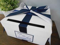 Custom Wedding Card Box Classic Navy and White Wedding. Trendy Wedding, Diy Wedding, Rustic Wedding, Wedding Ideas, Wedding Decorations, Small Wedding Bouquets, Wedding Dresses, White Bridal Shower, Card Box Wedding