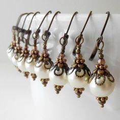 Bridesmaid Jewelry Set of 5 Ivory Pearl Earrings, Rustic Weddings, Vintage Style Jewelry, Beaded Dangles, Bridesmaid Earrings Gift, Cream