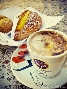 Photo about Italian coffee cappuccino and pastry. Image of warm, coffee, meal - 13422981 I Love Coffee, Coffee Art, Best Coffee, Coffee Break, My Coffee, Coffee Barista, Coffee In Italy, Coffee Drinks, Carmel Coffee