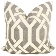 SALE. Mink Gray and Off White Trellis Decorative Pillow Cover, 18x18, 20x20, 22x22, 14x20 or 12x24