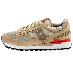 Saucony Shadow Original Mens S2108-597 Beige Red Running Shoes Sneakers Size 10