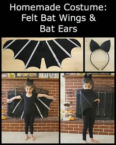 Homemade Halloween Costumes: Felt Bat Wings & Bat Ears (with 3 Different Variations) - Buggy and Buddy