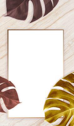 Rectangle golden nature frame on a marble background | premium image by rawpixel.com / Adj / HwangMangjoo / marinemynt Tropical Background, Leaf Background, Molduras Vintage, Gold Save The Dates, Marble Art, White Marble, Instagram Frame, Frame Template, Wedding Card Design