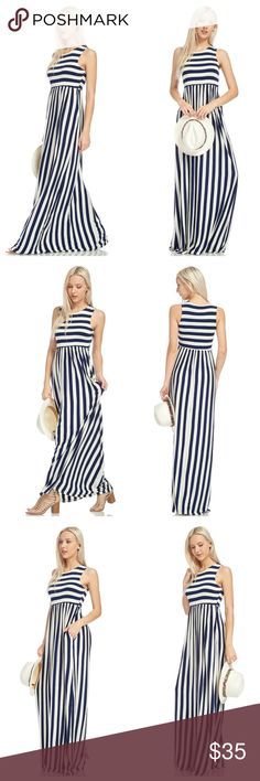 🎉HP🎉Navy And Ivory Striped Sleeveless Maxi Navy and ivory striped sleeveless maxi with side pockets. Bodice is made with two layers of fabric. EVIEcarche Dresses