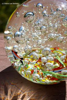 Glass paperweight with bubbles