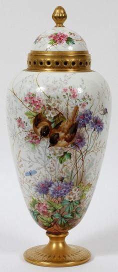 Limoges Porcelain Covered Urn With Hand Painted Bird And Flower Design, Fired Gold Band And Separate Dome Cover    c. 1902