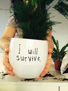 """Biała, minimalistyczna doniczka  """"I will survive."""" malowana ręcznie. Doniczka sprzedawana bez roślinki. Wysokość 13cm, otwór średnica 13cm. Brak dziury na spodzie doniczki."""