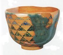 色絵鱗波紋茶碗 野々村仁清 作
