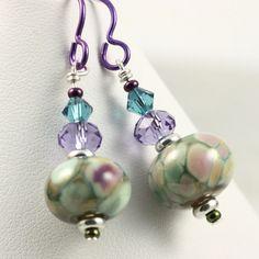 Multicolor Lampwork Earrings in Green Teal by AbacusBeadCreations