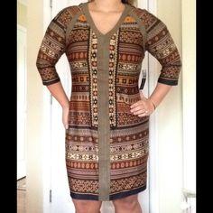 Suede Trim Aztec/Tribal Print Dress 3/4 sleeves with unique suede trim down middle and shoulders SOHO Apparel LTD. Dresses