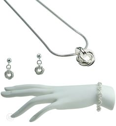 Rosabella Love Knot Cuff Set - includes: The Bracelet, The Earrings, the Necklace and an optional Free Greeting Card Silver Cuff, Jewelry Sets, Knots, Greeting Card, Bracelets, Earrings, Free, Ear Rings, Stud Earrings