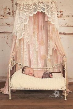 Newborn Shabby Bed Canopy – Photography Prop by modernragquilts http://shabify.com/s/newborn-shabby-bed-canopy-photography-prop-by-modernragquilts/