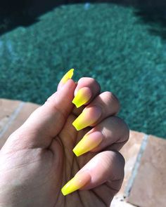 75 The Most Beautiful Ombre Acrylic Nails Designs You& Like To Have Neon Yellow Nails, Yellow Nails Design, Yellow Nail Art, Bright Summer Nails, Neon Nails, Neon Acrylic Nails, Nail Summer, French Fade Nails, Faded Nails