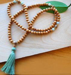 Japa Mala-Wood & Jade crafted with natural hard wood beads made from sturdy South Indian Kadam wood, genuine jadeite and picture jasper markers, finished with a natural cotton tassel. Tassel Jewelry, Yoga Jewelry, Hippie Jewelry, Jewellery, Tribal Jewelry, Jewelry Necklaces, Gold Bar Necklace, Lariat Necklace, Collar Hippie