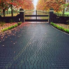 stamped driveway using StreetPrint genuine stamped asphalt – Exterior Stamped Concrete Driveway, Brick Driveway, Asphalt Driveway, Driveway Design, Concrete Driveways, Driveway Landscaping, Yard Design, Tree Lined Driveway, Driveway Gate