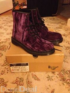 Purple Crushed Velvet Docs Size 7 For Sale in Dublin : - DoneDeal. Crushed Velvet, Dublin, Combat Boots, What To Wear, Crushes, Buy And Sell, Footwear, Purple, Stuff To Buy