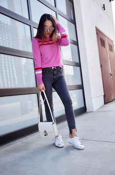Poshclassymom valentines outfit ideas Rebecca Minkoff pink levis high rise Celine box bag golden goose sneakers. #beauty #womensfashion #fashion #style
