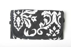 Belvah Quilted Damask Velcro Wallet w/ Detachable Shoulder Strap