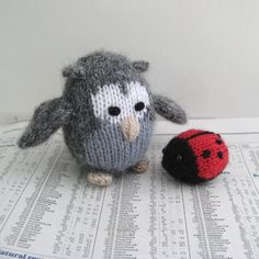 Cricklewood Owl and Ladybird: Pattern: http://knitting.myfavoritecraft.org/cricklewood-owl-and-ladybird/