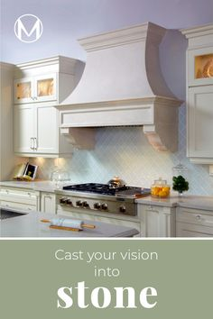 From idea to reality, Omega Mantels is fully invested in helping you create the range hood you deserve. Our cast stone products provide great durability, elegance and infinite design possibilities. From traditional to contemporary, intricately detailed to simple and minimalist, any style can be achieved. If you can imagine it, we can build it! Request a FREE consultation now! For more information, call 1-855-712-0123 Kitchen Hood Design, Kitchen Vent Hood, Kitchen Stove, Kitchen Cabinet Design, Modern Kitchen Design, Kitchen Living, Interior Design Kitchen, New Kitchen, Stone Kitchen