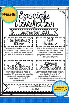Freebie! An editable newsletter for specials teacher, including a tutorial on how to use fillable PDF's.