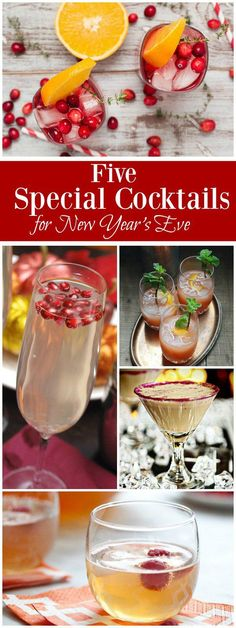 5 Special Cocktail Recipes for New Year's Eve: Cranberry Orange Gin Fizz, Champagne Punch, Godiva Martini and more!