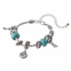 Simulated Turquoise Bead, Star & Arrow Charm Bracelet, Turquoise/Blue (Turq/Aqua)