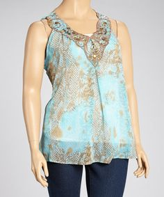 Take a look at this Turquoise Python Embellished Top - Plus by Sienna Rose on #zulily today!