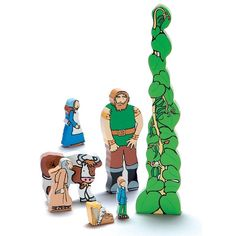 Jack and the Beanstalk wooden characters are a tactile way to retell this popular children's story. Traditional Nursery Rhymes, Fairy Tale Activities, Billy Goats Gruff, Story Sack, Preschool Gifts, Preschool Themes, Wooden Playset, Traditional Tales, Jack And The Beanstalk
