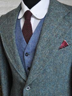 Size 40 Regular Green Harris Tweed Blazer