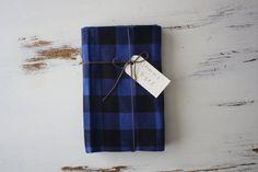 Boys 2 Receiving Blankets Blue & Black plaid flannel by MommaByrds, $22.00