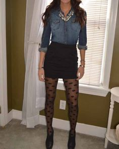 I have polka dot tights... And the shirt... And a longer, less tight black skirt. I may have to try this outfit.