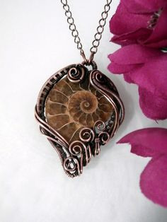 SOLD! Wire Wrapped Ammonite in Copper Pendant by PerfectlyTwisted,