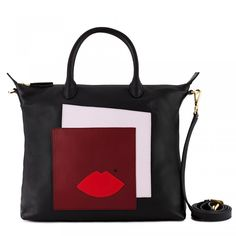 Black Abstract Print Small London Tote: Lulu's popular London leather tote bag gets the Matisse inspired treatment with the Abstract Face motif. In smooth premium leather and complete with cross body strap, wear it handheld, over the shoulder or across the body - the options are endless! - Visit Lulu Guinness at http://www.luluguinness.com/
