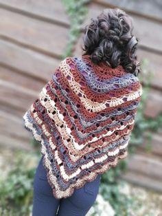 Multicolor crochet shawl used Rainbow wool yarn by Ice Yarns