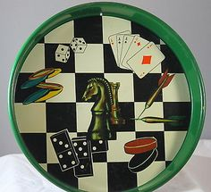 Vintage 1960s Chess Dart Card Game Serving Tray