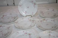 "8 Haviland Limoges 9"" Lunch Plates Schleiger 163B Rouen Rim Pink Flowers French"