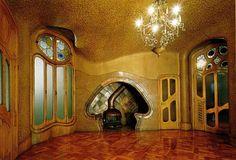 Antonio Gaudi (1852-1926) - Casa Batllo. Fireplace Inglenook View. Barcelona, Spain. Circa 1904-1906.