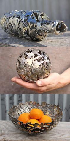 Artistico reciclaje hecho con llaves