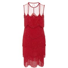 Naeem Khan     Sleeveless Flapper Fringe Mesh Neckline Mini Dress ($5,995) ❤ liked on Polyvore featuring dresses, naeem khan, red, red fringe dress, flapper style dress, mesh dress, short dresses and gatsby dress
