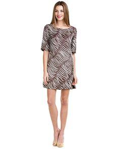 """Elizabeth McKay """"Lindsay"""" Chocolate Feather Silk Dress"""