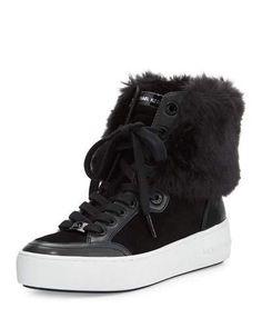 X3BF2 MICHAEL Michael Kors Poppy Faux-Fur High-Top Sneaker, Black