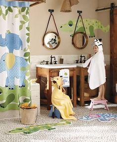 Safari Bathroom complete with animal bath wraps. #CheviotProducts likes this!