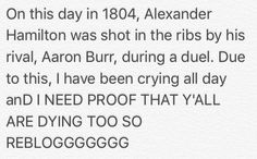 HAPPY JULY FUCKING ELEVENTH FROM AN ANGSTY TEEN CRYING OVER THE FIRST TREASURY SECRETARY (@Alexander Hamilton)